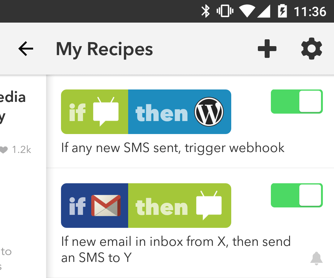 MomMMS triggers in IFTTT app
